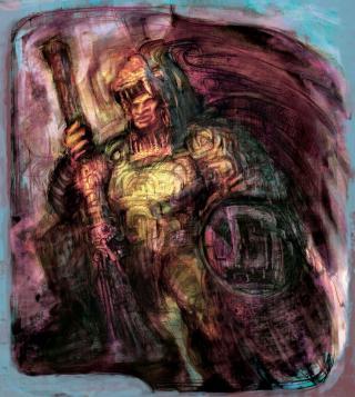 Guerrero Azteca Retrato conmemorativo del General Itzcoatl, líder del glorioso ejército conquistador.