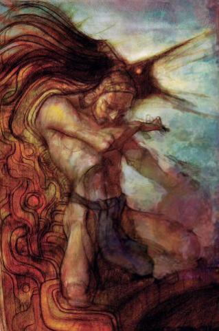 """Sacerdote Azteca Esta pintura del renombrado artista Chapulitzin muestra el momento en que el Gran Sacerdote Tlacaelel es visitado por el Espíritu del Dios de la Guerra, Señor Huitzilopochtli, quien le encomienda el deber sagrado de conquistar las nuevas tierras que se encuentran al Este. Inspirado por esta visión, Tlacaelel luego daría un brillante discurso ante el Supremo Consejo Azteca en el cual designaba la necesidad de conquistar aquellas tierras como """"Nuestro Destino Manifiesto""""."""