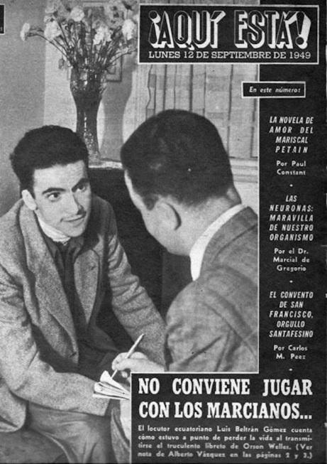 Tapa de ¡Aquí Está! septiembre de 1949, dedicada al Beltrán Gómez, trágico imitador de Orson Welles