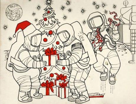 Arte de John Sisson de http://dreamsofspace.blogspot.com/2012/01/moon-christmas-coloring-book-1970.html