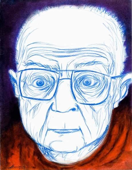 Stanisław Lem dibujado por Javier Herrero.