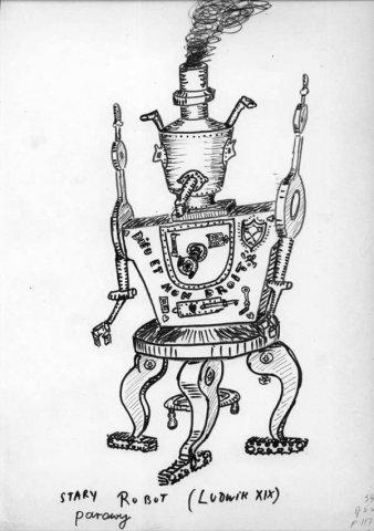Dibujo de Lem: Un viejo robot de vapor.