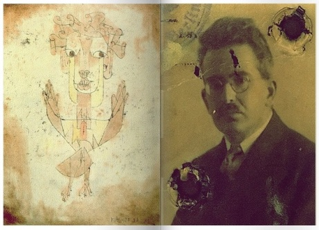 """A la izquierda, """"Angelus Novus"""" de Paul Klee; a la derecha, el filósofo alemán Walter Benjamin quien comprara la pintura de Klee, motivo de su ensayo."""