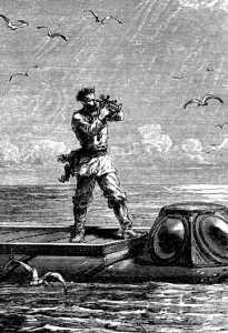 Ilustración original de 20000 leguas de viaje submarino.