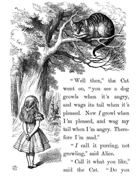 Una página de la primera edición de Alicia en el país de las maravillas de Lewis Carroll, ilustración de John Tenniel.