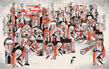 1984 de George Orwell, trabajo inspirado por  el ilustrador de Glascow, Lesley Barnes: http://bldgwlf.com/george-orwells-1984-inspired-illustration-by-lesley-barnes/#sthash.SUa7NOhd.dpuf