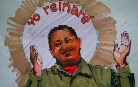 """""""Chávez Vive"""", gráfico de Fernando Naranjo Espinoza (https://panopticogalerianaranjo.wordpress.com/2015/05/07/hugo-nuestro-rojo-senor-por-gabriel-noriega-ormaza/)"""