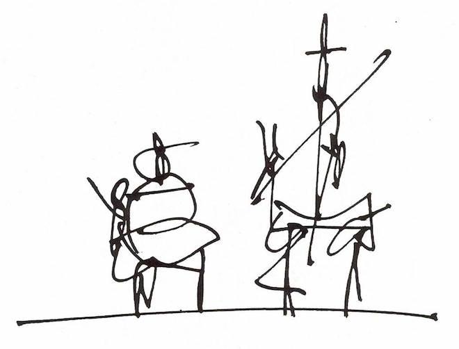 Don Quijote y Sancho Panza, por Antonio Saura