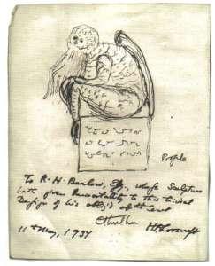 Dibujo y manuscrito de H.P. Lovecraft de 1937.