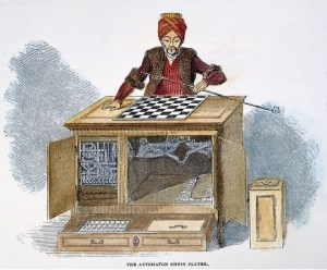 CHESS: AUTOMATON, 1845. /nWolfgang von Kempelen's 'The Turk,' a chess playing automaton, created c1770. Wood engraving, English, 1845.