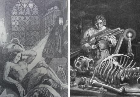 A la izquierda, el grabado que apareció en la edición de 1831. A la derecha, una ilustración moderna de la historia.