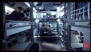 Interior de la nave. Se nota la influencia de la ISS.
