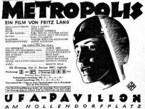"""Anuncio del estreno del film """"Metrópolis"""" de 1927."""