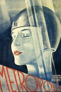 """Arte donde se resalta a los autores de """"Metrópolis"""": Thea von Harbou (guion) y Fritz Lang (dirección)."""